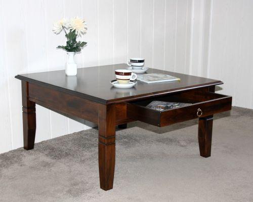 Couchtisch Beistelltisch braun nussbaum Farbe Sofatisch Tisch 85x85cm mit Schublade – Bild 3