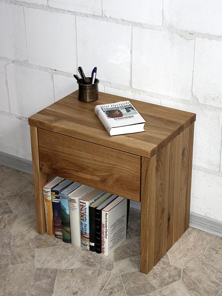 Nachttisch OLIVER 49cm Höhe Wildeiche Nachtschrank mit Schublade massiv geölt – Bild 2