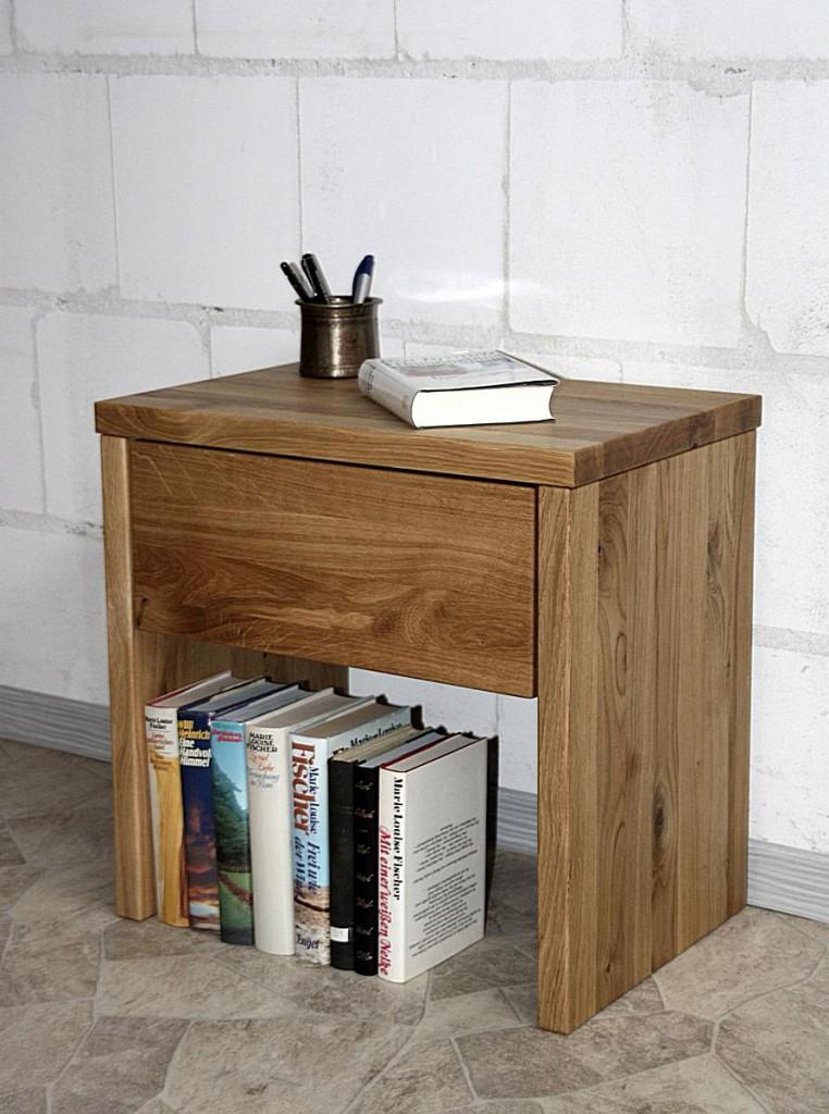 Nachttisch OLIVER 49cm Höhe Wildeiche Nachtschrank mit Schublade massiv geölt