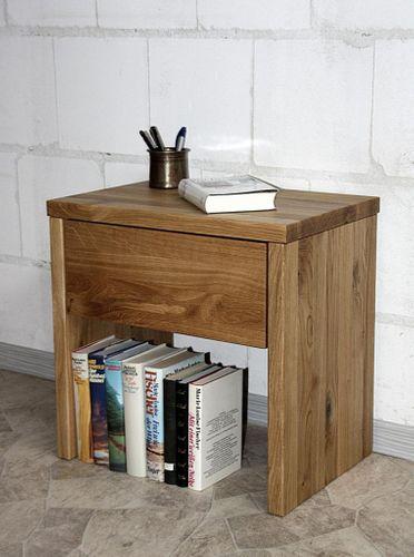 Nachttisch 49cm Höhe Wildeiche Nachtschrank mit Schublade Vollholz massiv geölt – Bild 1