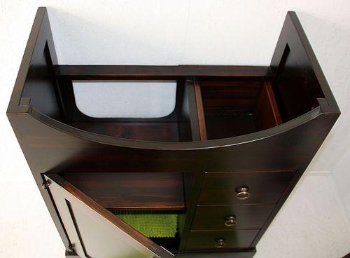 Badmöbel-Set 4teilig 65cm braun nussbaum Farbe italienische Badezimmermöbel Vollholz massiv – Bild 9