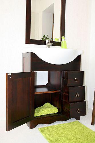 Badmöbel-Set 4teilig 65cm braun nussbaum Farbe italienische Badezimmermöbel Vollholz massiv – Bild 7