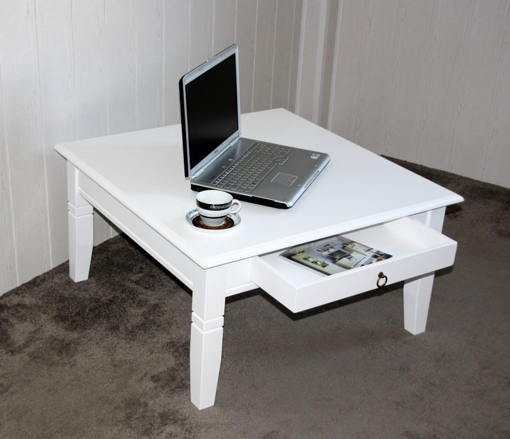 Couchtisch 85x46x85cm, 1 Schublade, Pappel massiv weiß lackiert