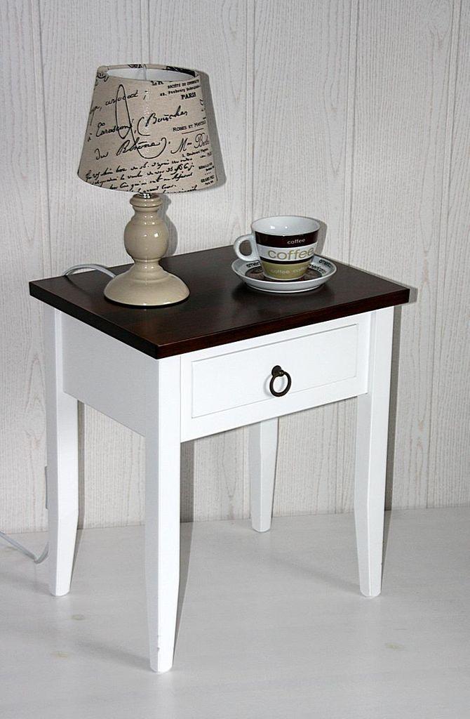 Nachttisch zweifarbig weiß/nussbaumfarben 40x30 cm Nachtkommode mit Schublade Beistelltisch Pappel massiv