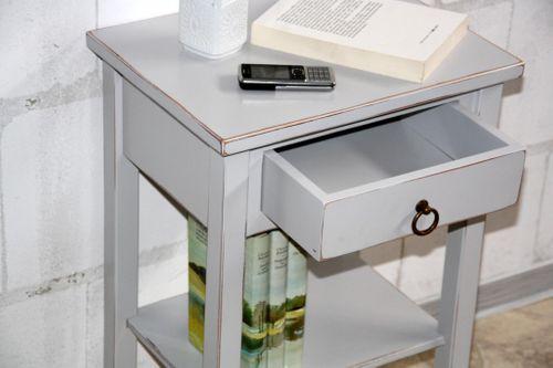 Nachttisch grau antik Komforthöhe Beistelltisch Nachtkommode Holz massiv – Bild 7