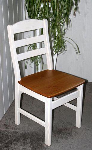 Stuhl mit Holzsitz Kiefer massiv 2farbig weiß honigfarben – Bild 1