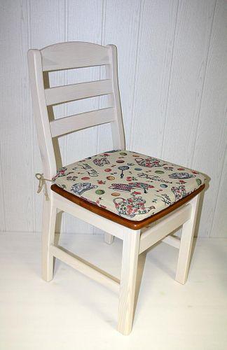 Stuhl mit Holzsitz Kiefer massiv 2farbig weiß honigfarben – Bild 8