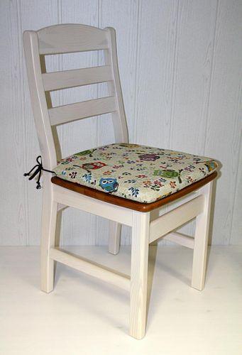 Stuhl mit Holzsitz Kiefer massiv 2farbig weiß honigfarben – Bild 6