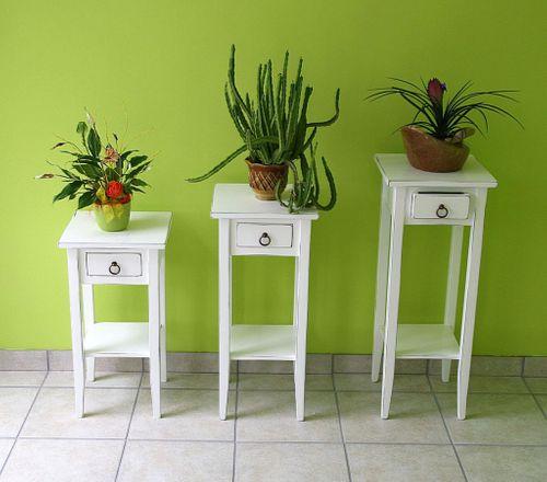 Beistelltisch-Set Blumentische Blumenhocker Holz massiv weiß antik – Bild 3