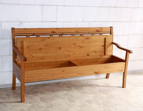 Sitzbank 180cm Truhenbank Kiefer goldbraun lackiert Holzbank mit Armlehnen honigfarben – Bild 4