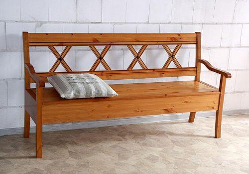 Sitzbank 180cm Truhenbank Kiefer goldbraun lackiert Holzbank mit Armlehnen honigfarben – Bild 1