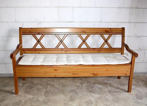 Sitzbank 180cm Truhenbank Kiefer goldbraun lackiert Holzbank mit Sitzkissen honigfarben – Bild 4