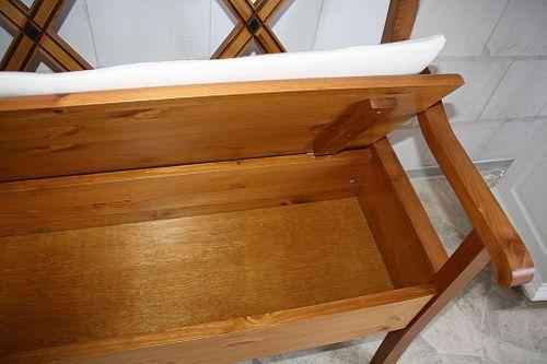 Sitzbank 180cm Truhenbank Kiefer goldbraun lackiert Holzbank mit Sitzkissen honigfarben – Bild 7
