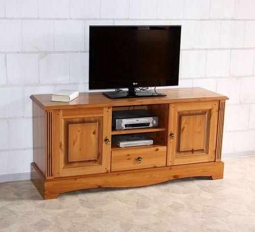TV-Kommode 155x70x45cm Lowboard 2 Türen 1 Schublade Kiefer goldbraun lackiert honigfarben – Bild 1