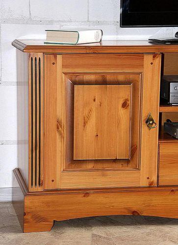 TV-Kommode 185x70x45cm Lowboard 2 Türen 2 Schubladen Kiefer goldbraun lackiert honigfarben – Bild 2