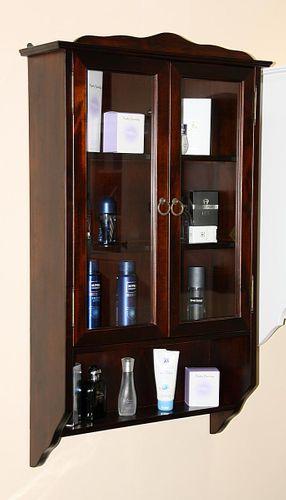 Badezimmer Hängevitrine nussbaumfarben Hängeschrank Pappel massiv dunkelbraun mit zwei Einlegeböden – Bild 1