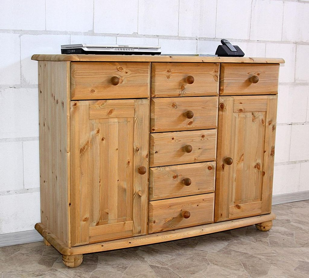 sideboard 123x93x45cm 2 t ren 7 schubladen kiefer massiv gelaugt ge lt. Black Bedroom Furniture Sets. Home Design Ideas