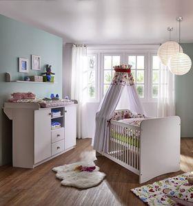 Babyzimmer-Set 3teilig weiß lackiert Kiefer massiv