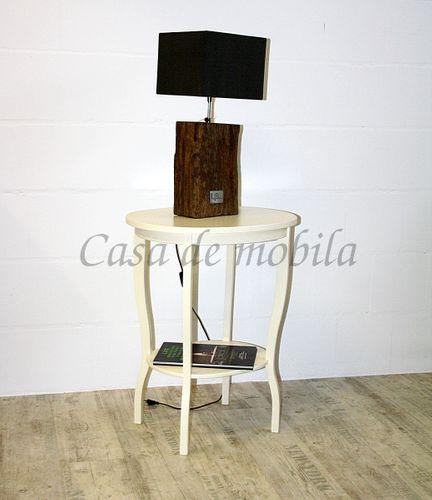 Beistelltisch Teetisch Tisch oval 75cm - Holz massiv creme – Bild 10