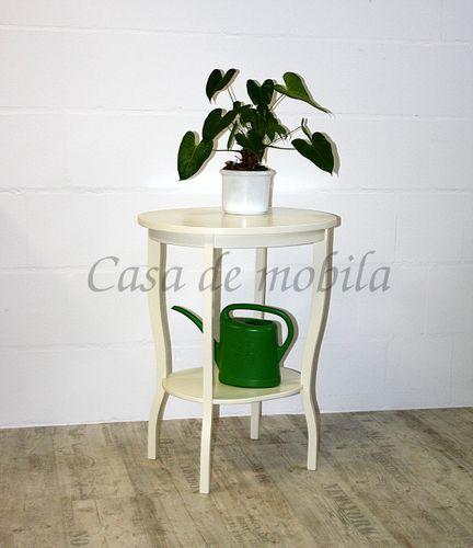 Beistelltisch Teetisch Tisch oval 75cm - Holz massiv creme – Bild 1