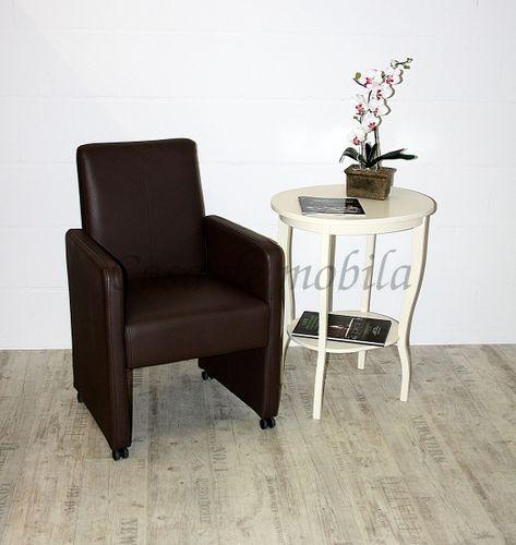 Beistelltisch Teetisch Tisch oval 75cm - Holz massiv creme – Bild 8