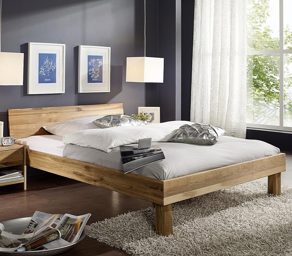 bett 140x200 geschlossenes kopfteil wildeiche massiv ge lt stabverleimt. Black Bedroom Furniture Sets. Home Design Ideas