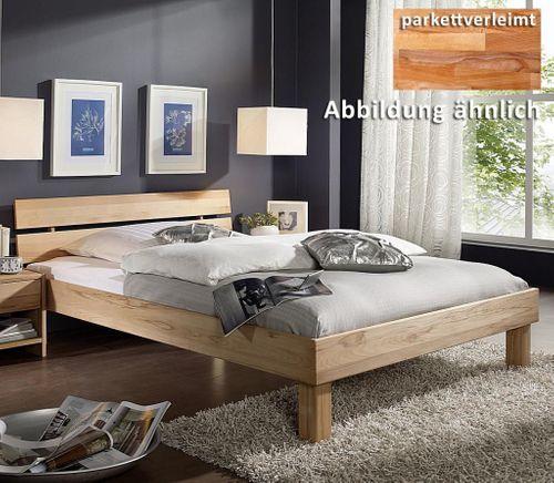 Doppelbett 180x200 Holzbett mit geteiltem Kopfteil Vollholz Kernbuche massiv geölt – Bild 2