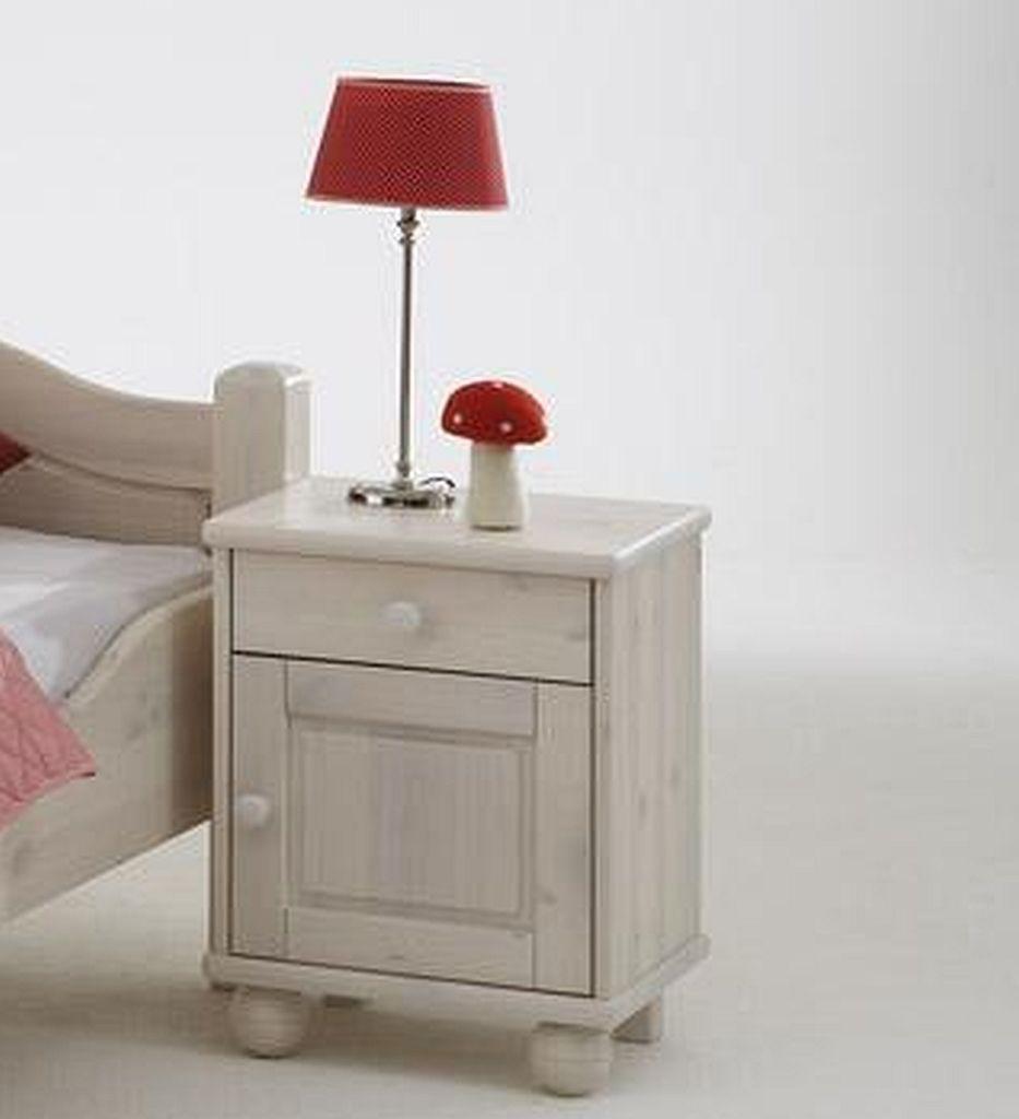 nachtkommode 44x55x33cm 1 t r 1 schublade kiefer massiv wei lasiert. Black Bedroom Furniture Sets. Home Design Ideas
