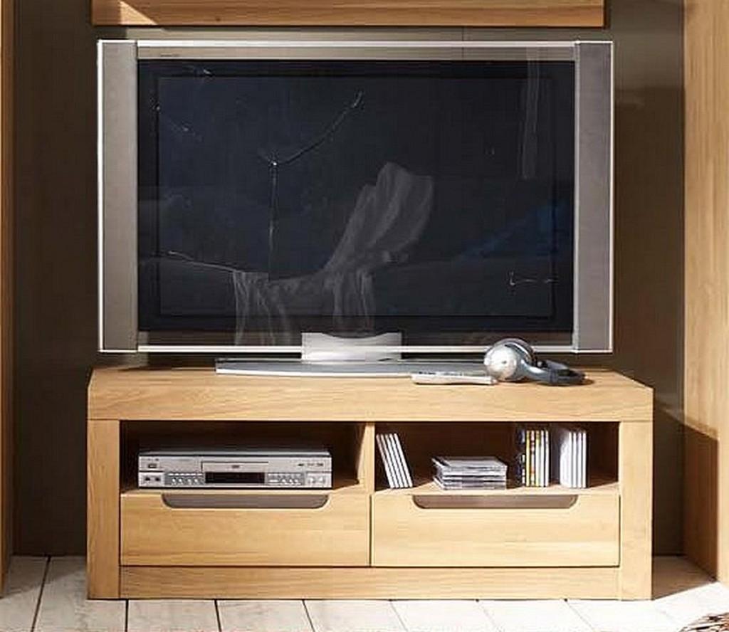 Tv Lowboard 125x45x41cm 2 Schubladen Wildeiche Massiv Bianco Geolt