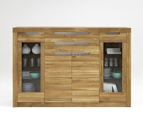 Highboard Wildeiche/Kernbuche natur geölt Kommode Holz massiv – Bild 1