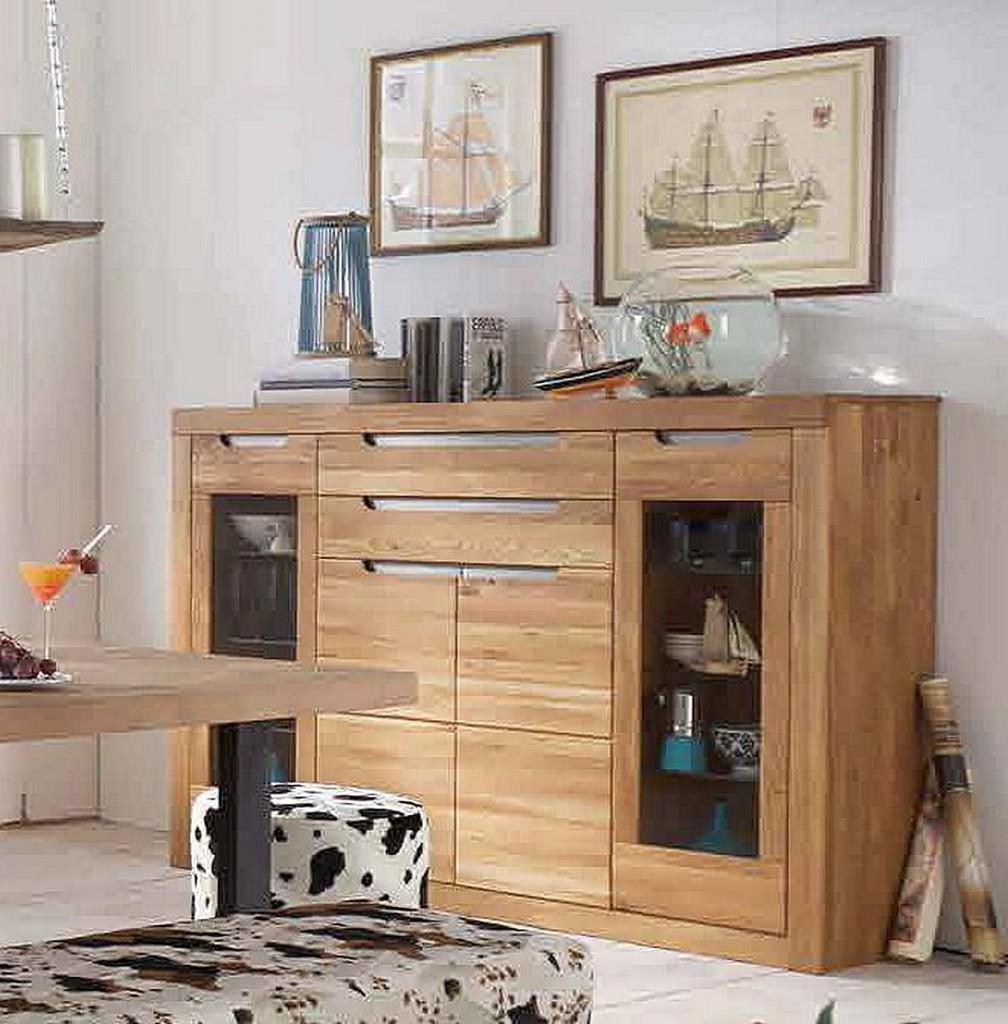 highboard 175x120x44cm 2 holzt ren 2 glast ren 2 schubladen wildeiche massiv bianco ge lt. Black Bedroom Furniture Sets. Home Design Ideas