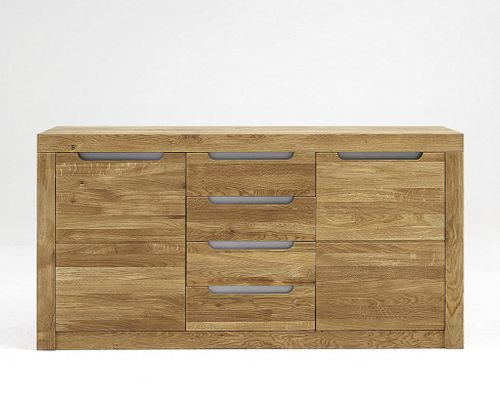 sideboard 160x82x44cm 2 holzt ren 4 schubladen kernbuche massiv natur ge lt. Black Bedroom Furniture Sets. Home Design Ideas