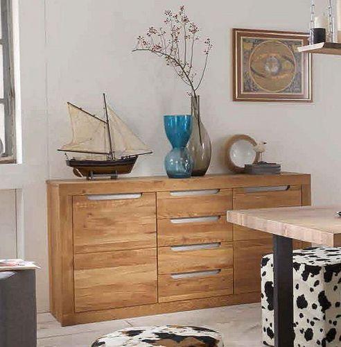 Kommode Wildeiche bianco geölt Sideboard Holz massiv – Bild 1