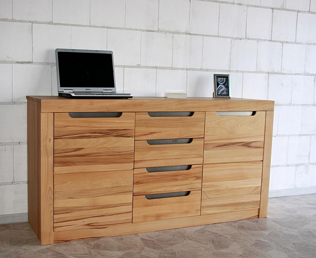 Kommode kernbuche natur ge lt sideboard holz massiv for Kommode natur