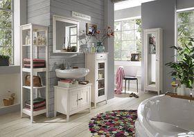 Badmöbel-Set Kiefer weiß lasiert Badezimmer-Möbel Holz massiv 5teilig
