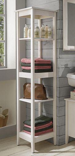 Badmöbel-Set Kiefer weiß lasiert Badezimmer-Möbel Holz massiv 4teilig – Bild 4