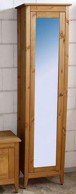 Bad-Hochschrank 49x189x31cm, 1 Spiegeltür, Kiefer massiv gelaugt geölt