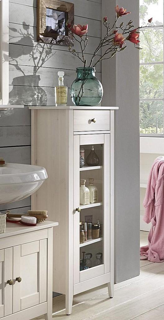 bad kommode 49x118x31cm 1 glast r 1 schublade kiefer massiv wei lasiert. Black Bedroom Furniture Sets. Home Design Ideas
