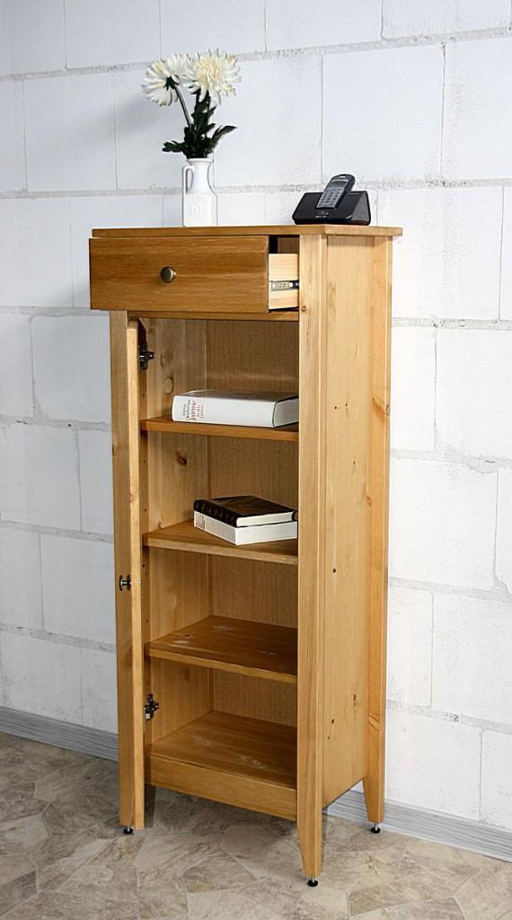 bad kommode 49x118x31cm 1 glast r 1 schublade kiefer massiv gelaugt ge lt. Black Bedroom Furniture Sets. Home Design Ideas