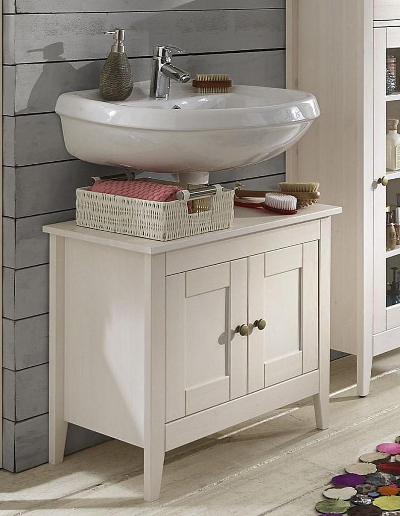 Waschtischunterschrank holz weiß  Waschtisch-Unterschrank 65x57x38cm, 2 Türen, Kiefer massiv weiß lasiert