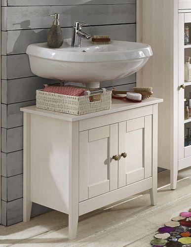 Waschtisch-Unterschrank Kiefer weiß lasiert Waschbeckenschrank Holz massiv – Bild 1