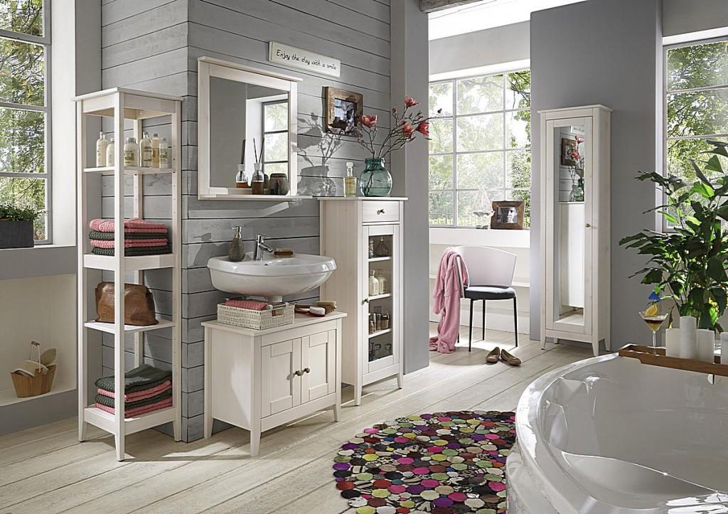 Badezimmer-Spiegel 67x67 Kiefer weiß lasiert Badspiegel Holz massiv – Bild 2