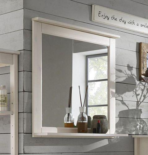 Badezimmer-Spiegel 67x67 Kiefer weiß lasiert Badspiegel Holz massiv – Bild 1