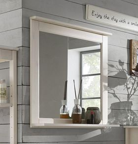 Badezimmer-Spiegel 67x67x14cm, Kiefer massiv weiß lasiert
