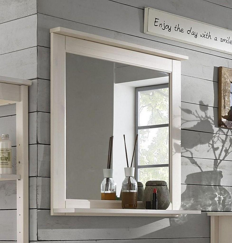 Bad-Kombination Kiefer weiß lasiert Badezimmer-Möbel Holz massiv 3teilig – Bild 4