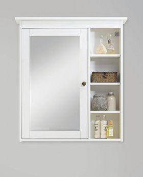 Bad-Spiegelschrank Kiefer weiß / gelaugt geölt Holz massiv 001