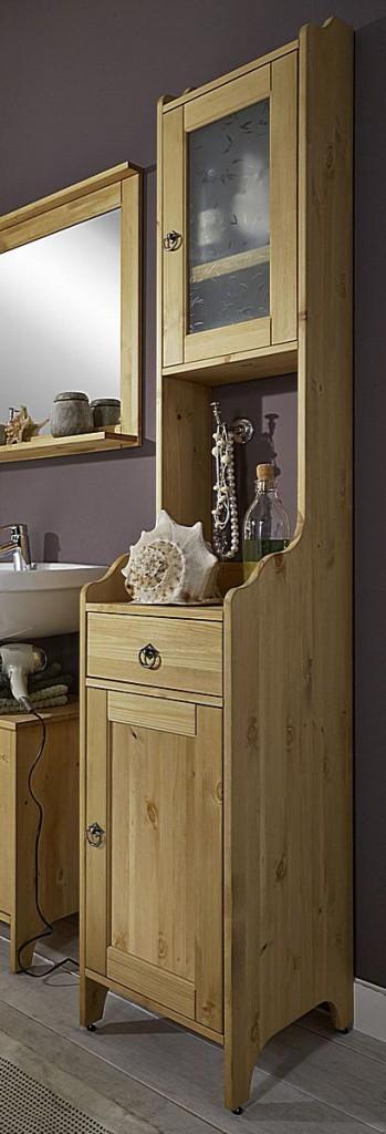 Badmöbel-Set Kiefer gelaugt geölt Badezimmer-Möbel Holz massiv 4teilig – Bild 3