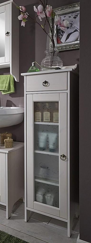 Badezimmer-Möbel Kiefer weiß lasiert Badmöbel-Set Holz massiv ...