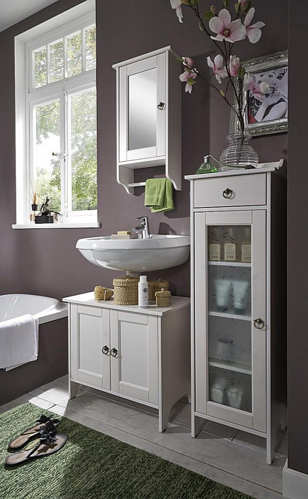 waschtisch unterschrank 65x56x38cm mit 2 t ren kiefer massiv wei lasiert. Black Bedroom Furniture Sets. Home Design Ideas