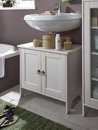 Waschtisch-Unterschrank Kiefer weiß Waschbeckenschrank Holz massiv – Bild 1